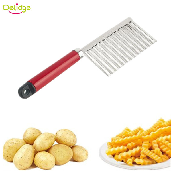 Delidge 20 pc Potato Wavy Cutter Stainless Steel Vegetable Fruit Cutting Knife Potato Cucumber Carrot Waves Cutter Cooking Tool