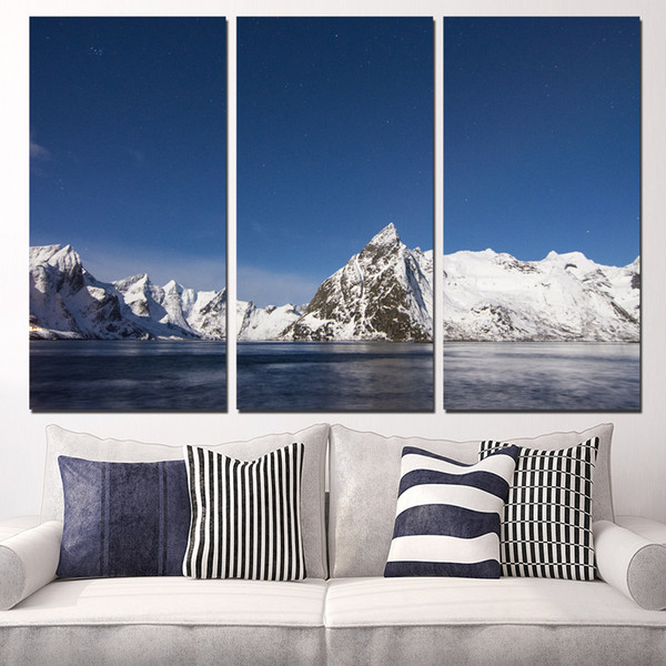 3 Pcs/Set Framed HD Printed Ice Mountain Lake Picture Wall Art Canvas Print Decor Poster Canvas Modern Oil Painting