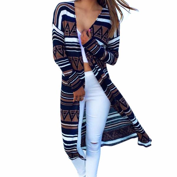 Wholesale- Lisli Women Clothing Cardigan 2016 New Fashion Brand Printed Jacket Womens Stripe Long Style Coat Femme Cardigan 01C0452