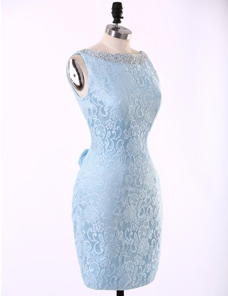 Real Photo Light Blue Lace Sheath Short Bridal women Dresses 2017 Junior Mother's Dress Robe Demoiselle D'honneur Vestido