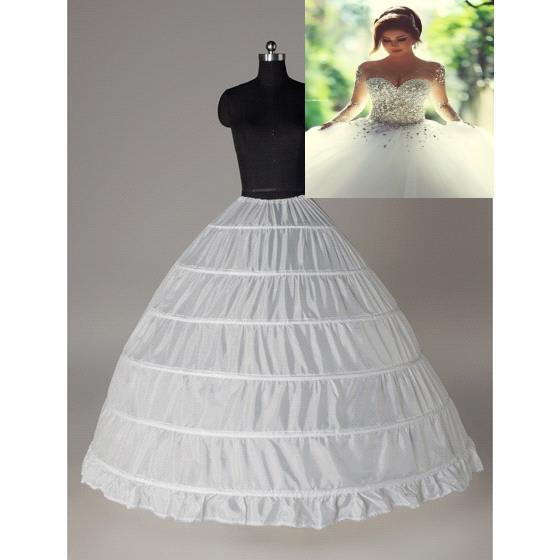 Super barato vestido de baile 6 Hoops anágua casamento Slip Crinoline nupcial Underskirt Layes Slip 6 Hoop saia Crinolina para vestido Quinceanera