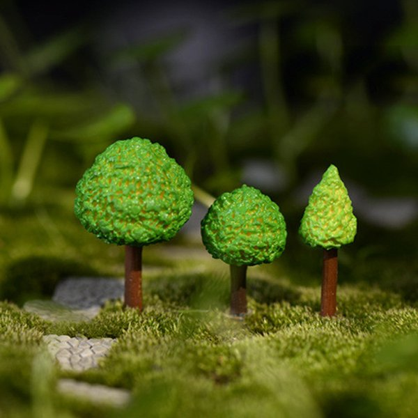 12pcs Cartoon Tree Resin Crafts Fairy Garden Miniatures Bonsai Tools terrarium Figurines Landscape Dollhouse Jardin Gnomes Home Decoration