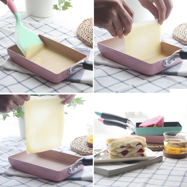 2018 Square Nonstick Bratpfanne Omelett Toast Pfannkuchen Pan Pot Aluminiumlegierung Tamagoyaki Eier Fry Pan Frühstück Maker Kochgeschirr
