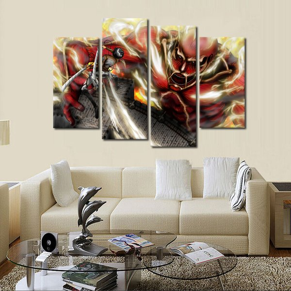 4pcs/set Wall Art Picture:Japanese Anime Attack on Titan Spray Painting on Canvas Unframed Landscape Print Wholesale Home Decoration