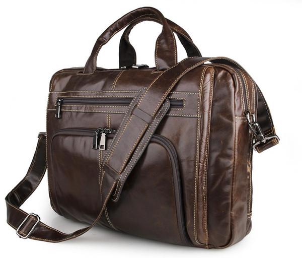 "Mens Genuine leather Single Shoulder Bag Briefcase Tote Bag 16"" laptop Bag European Fashion Style Coffee Color 7310"