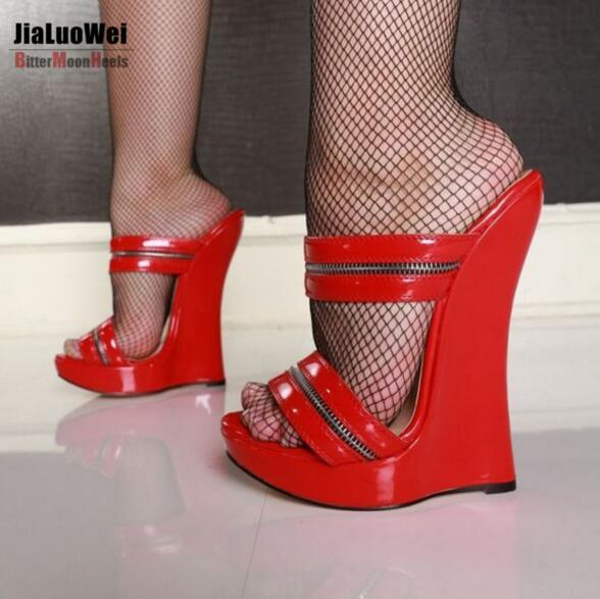 Red Women Sexy High Heels Wedges Sandals Platform Patent Leather Ankle Strap Sandals Fashion Summer Pumps Ladies Slides Shoes 18cm Free Ship