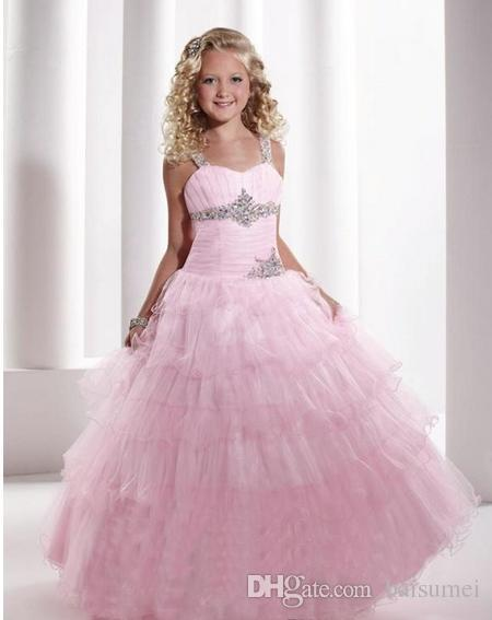 Hot sale Girls Pageant Dresses Organza Ruffle Ball Gowns Beads Tiered Crystals Flower Girl Gowns Custom size