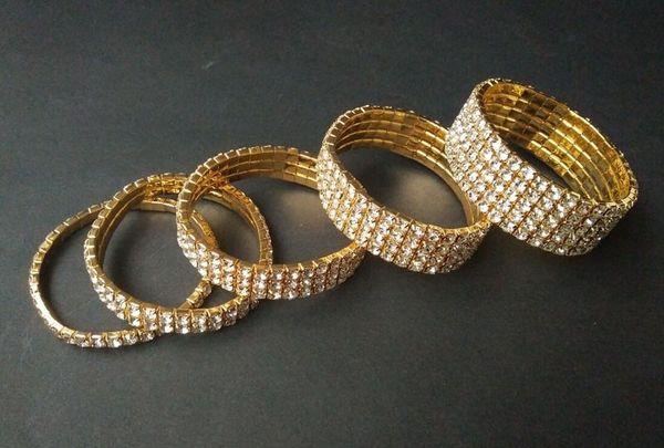 12 pieces Lots 1-10 Rows Gold Bracelets Crystal Rhinestone Elastic Bridal Bangle Bracelet Stretch Wholesale Wedding Accessories for Women