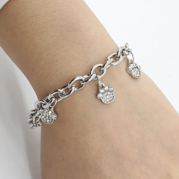 Fashion Pet Dog Paws Claw Footprint Crystal Pendant Bracelets Alloy Silver Plated Charms Message Dog Bracelets Wholesale Jewelry