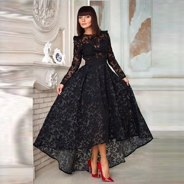 Lace Long Sleeve Prom Dresses Hi Lo Athymettical Black Prom Dresses