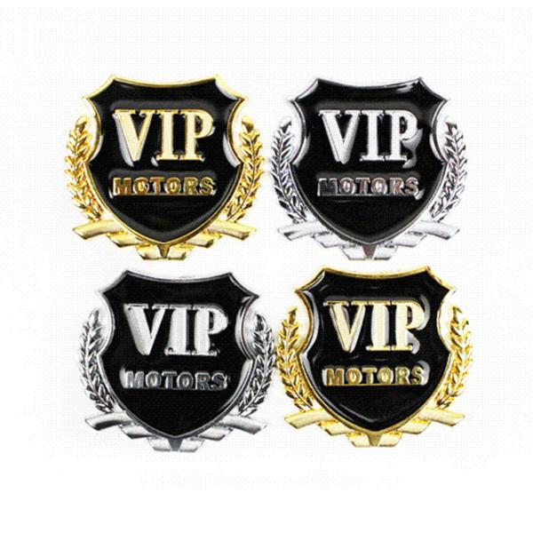 OTOKIT Brand New 2pcs/set VIP MOTORS Metal Car Chrome Emblem Badge Decal Door Window Body Auto Decor DIY Sticker Car Decoration