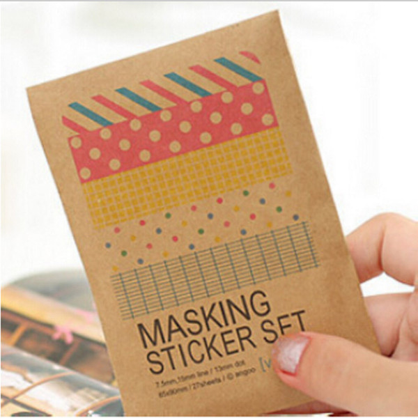 top popular Wholesale- 27 sheets bag DIY Cute Kawaii Paper Dot Sticker Vintage Masking Sticker Set for Diary Scrapbooking Free shipping 10021 2020