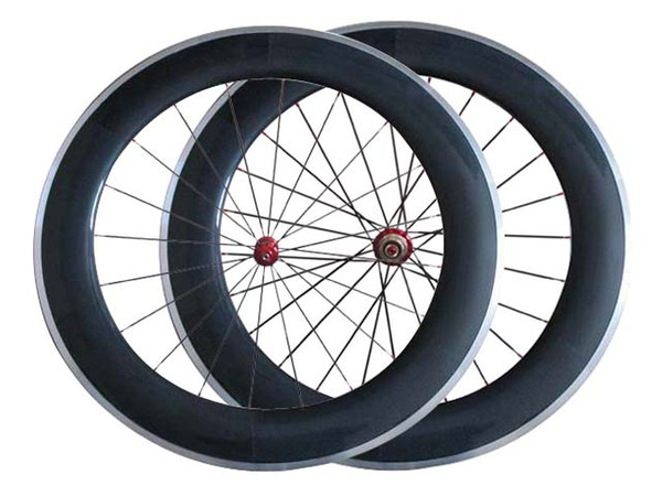 New Road bicycles 80mm Carbon wheels Clincher Complete Carbon Wheelset Carbon Bike Wheelset+Aluminum Alloy Brake Surface R36 Hubs