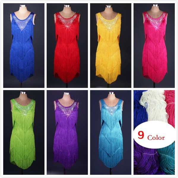 best selling New Adult Latin Dance Dress Salsa Tang Cha cha Ballroom Competition Tassels Rhinestones Group Dance Dress 5Color S-XXL Customizable