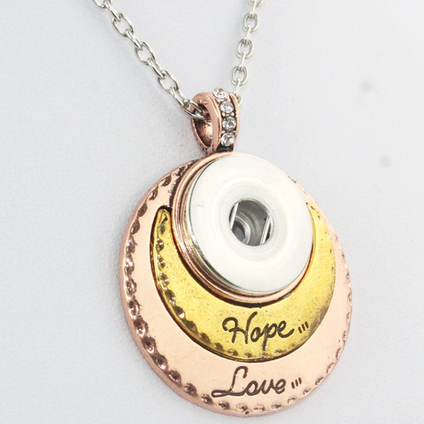 Gold Sterling Jewelry Long Chain Beads Metal Snap Button Women 'S Necklace Bohemian Love Hope Pendant (Fit 18mm Snaps )