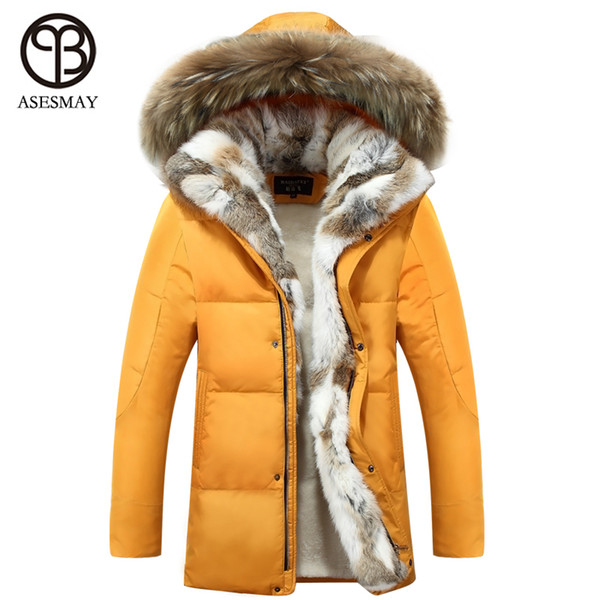 Wholesale- 2016 New Down Coat Long winter Jackets men Parka Hooded High Quality Warm Plus Size Duck Down Coat Natural Fur Thick Coat