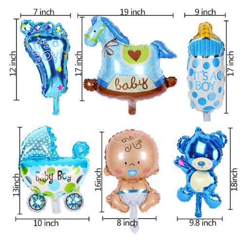 6pcs/lot mini balloon baby shower party foil baby boy girl balloons Birthday Party Decoration baloes de festa