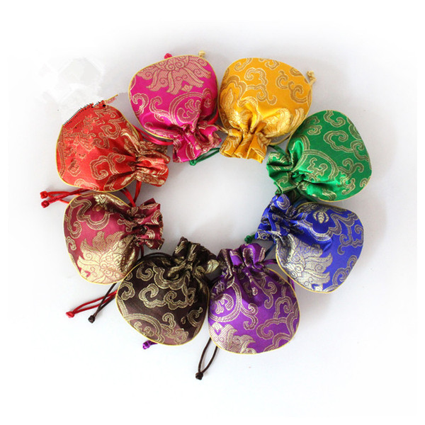 Happy Flower Silk Brocade Pouch Small Drawstring Jewelry Packaging Perfume Trinket Bag Empty Tea Candy Gift Bag Wedding Party Favor 11x14 cm