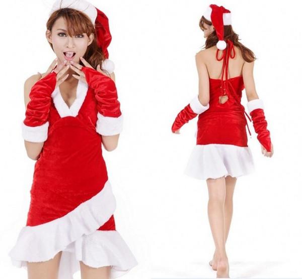 Новый Талисман Женщины Рождество Dress Женщины Рождество Dress Sexy Ladies Красный Цвет Санта Костюм Женщины Mrs Party Fancy Dress Vestido