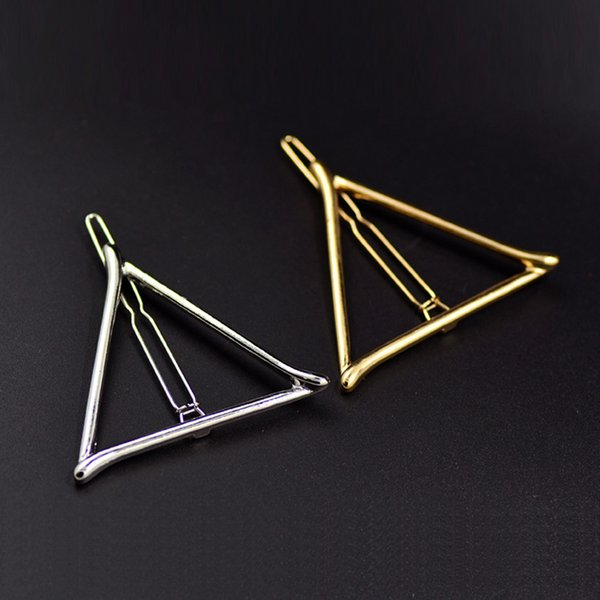 New Simple geometric triangle clip Golden edge clip a word hair clips Alloy tire free shipping