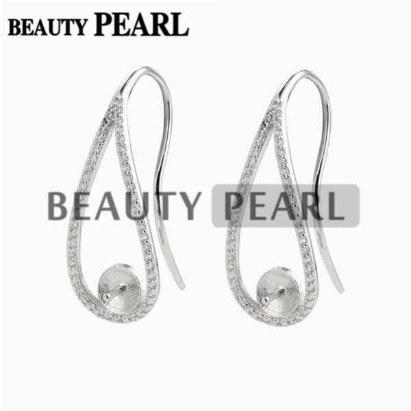 Ear Wire Cubic Zirconia Paved 925 Sterling Silver Earrings Blank Base Pearl Jewellery Findings 5 Pairs
