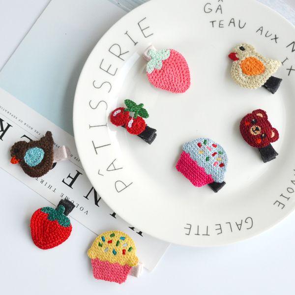 Boutique 40pcs Fashion Cute Cherry Strawberry Cupcake Bird Bear Hairpins Solid Crochet Animal Fruit Hair Clips Princess Headware