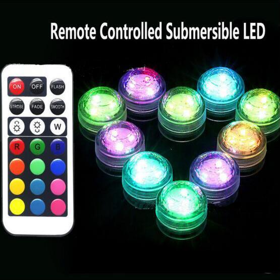 2017 RGB Mini led diamond lamp 3 led patch waterproof IP68 candle light remote control colorful diving light night light 7 color control