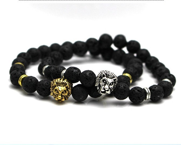 Fashion Agate Buddha Beads Jewelry Lava Volcanic Stone Lion Head Bracelet 8 Mm Beads and Volcanic Rock People Jewelery Yoga Bracelet Gift