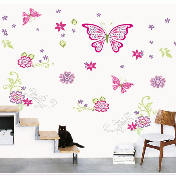 Wall Stickers Romantic Music Rain Butterfly With Flower Dance Decal Water Proof Removable Background Sticker Home Decor 4 5sy F R