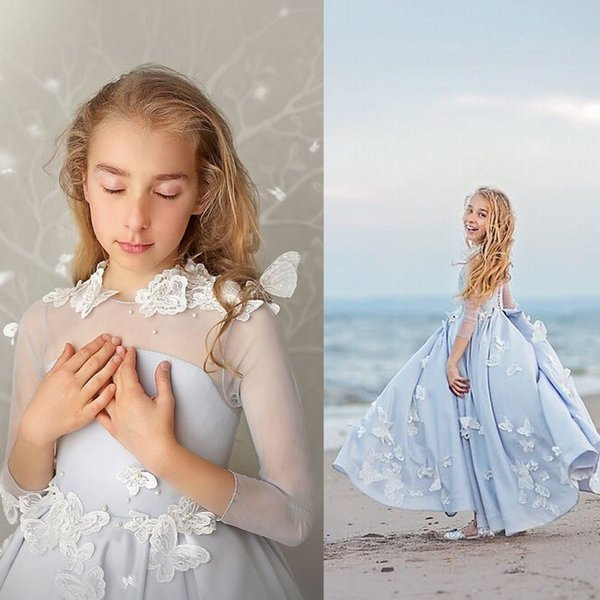 New Design Flower Girl Dresses Full Length 3/4 Long Sleeves Boho Junior Bridesmaid Dress With Butterfly Flowers Handwork Buttons Back
