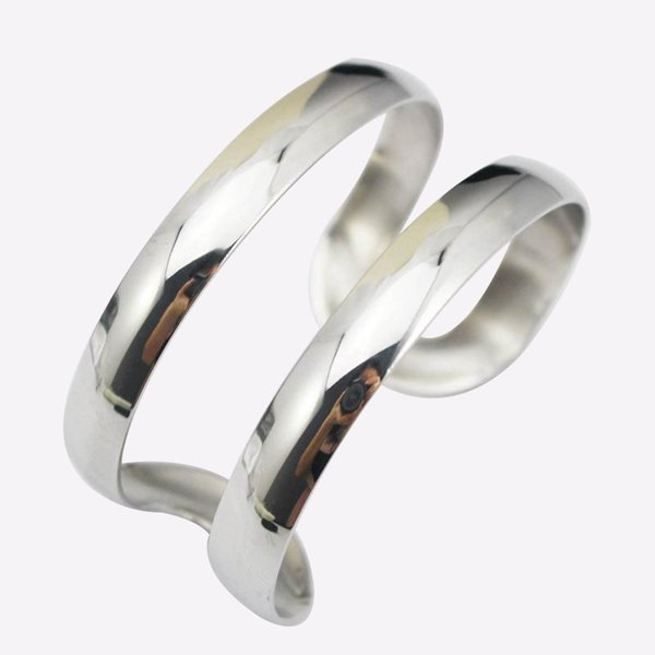 Silver Color Stainless Steel Simple Hollow Out Wide Cuff Bangles Bracelets Opening Bangle Bracelet New 2017 Punk Designer