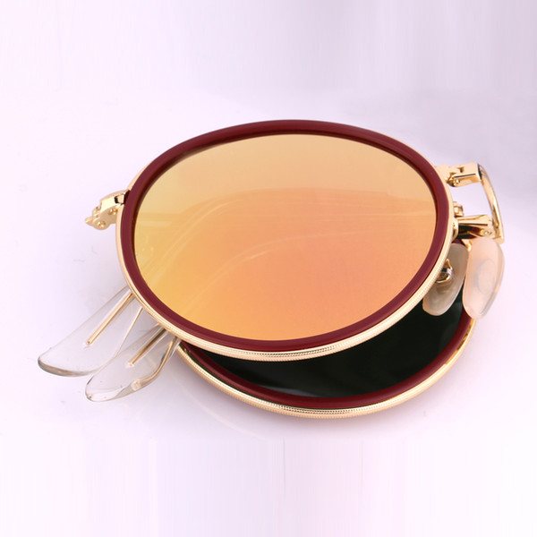 AK3517 Hot Newest Brand Designer Round Folding Retro Sunglasses Men Women UV400 Protection Gold Frame Pink Sunglasses Small Case