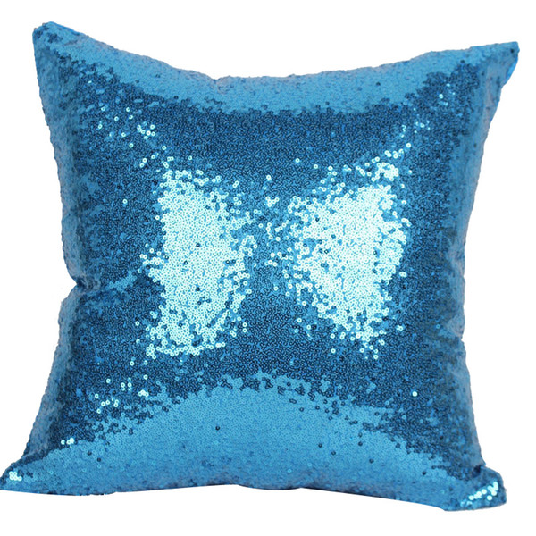 6 Colors Hot Single Color Sequins Pillow Case Shiny Square Sofa Car Decorations Bright Magic Pillow Cover In Stock
