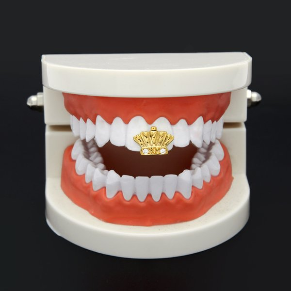 New Silver Gold Plated Crown shape Crystal Hip Hop Single Tooth Grillz Cap Top & Bottom Grill for Halloween Party Jewelry