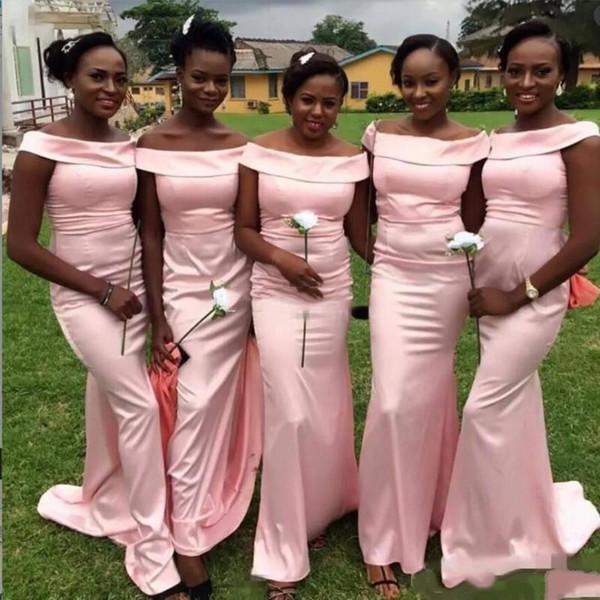 Pink Portrait Mermaid Long Bridesmaid Dresses African Wedding Guest Satin Sweep Train Simple Party