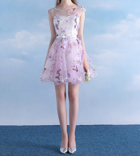 2019 Organza Short Homecoming Dress Cap Sleeve New A Line Belt See Through Handmade Flowers Custom Size Floral Printed Fashion Party Gowns