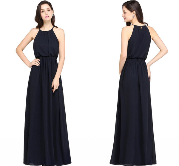 Großhandel 2018 New Hot Navy Blue Chiffon Lange Brautjungfernkleider ...