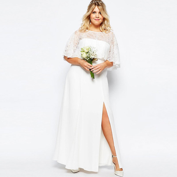Elegant Plus Size Lace Country Bridesmaids Dresses Sheer Bateau Neck Split Side Wedding Guest Dress Floor Length Chiffon Maid Of Honor Gowns