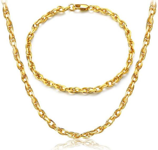 2017 ventas calientes marca 18 K chapado en oro collar en forma de huevo moda hombre mujer 4 mm pulsera de oro collar de la boda conjunto de joyas