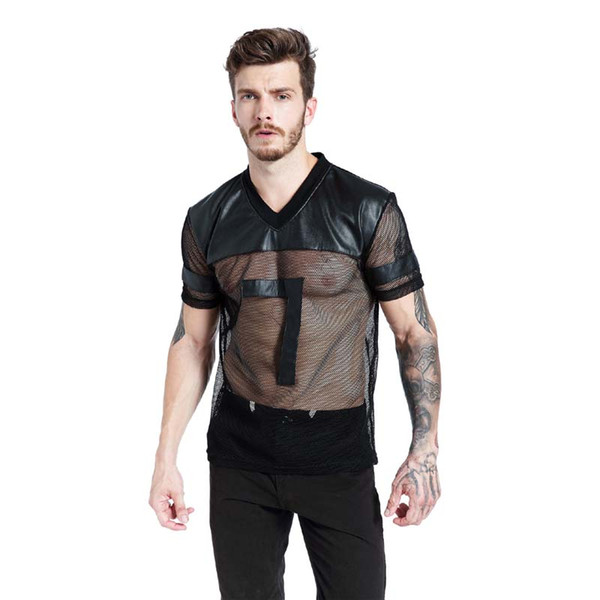 Faux Leather Men T-Shirts Black Breathable Tee Mesh Patchwork V Collar See Through Tee Male Punk Short Sleeve Tops S-XL