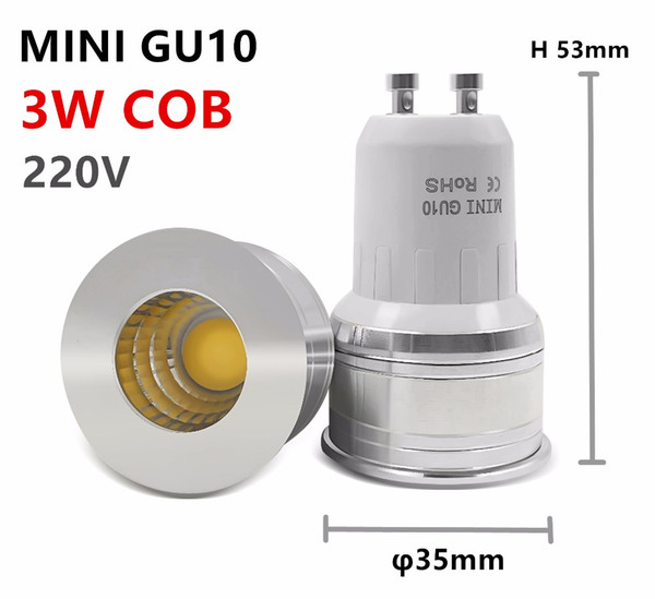 Wholesale- led ampoule mini gu10 35mm spotlight 3w dimmable 110v 220v 240v 12v mr16 mr11 spot angle pour salon chambre lampe de table petit