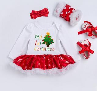 2017 new long-sleeved snowflakes high-quality cotton and silk dress European and American Christmas suit 0-2 year old female baby children's