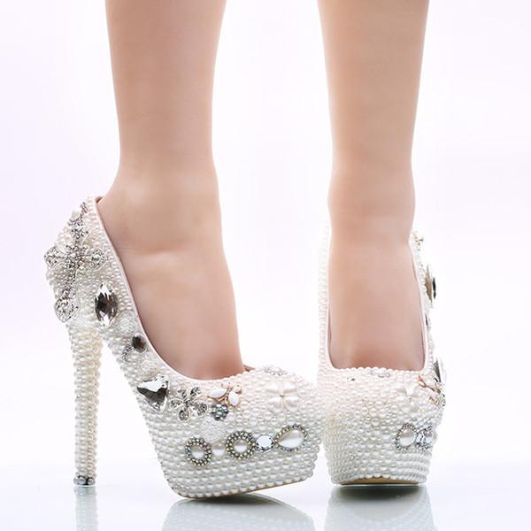 Scarpe Da Sposa Bianche.Acquista Scarpe Da Sposa Bianche Perla Plus Size Us 12 Scarpe Da