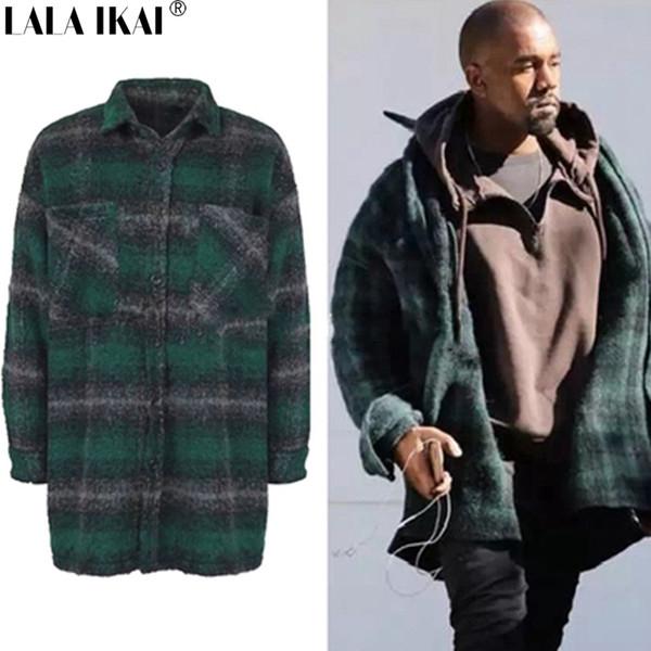 Vente en gros - Plaid Flanel Wool Blends Hommes épais hiver long manteau homme Kanye West Streetwear pardessus manteaux Hip Hop oversize manteaux SMH0050-4