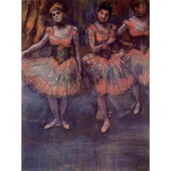 Tableaux modernes Trois danseurs avant l'exercice-Edgar Degas arts huile sur toile peints à la main