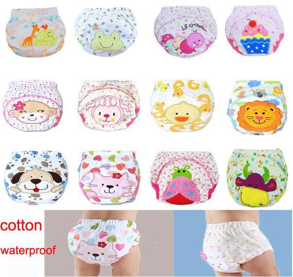 top popular 3 layers cartoon baby training pants waterproof diaper pant potty toddler panties newborn underwear Reusable training pants 12 designs 2019