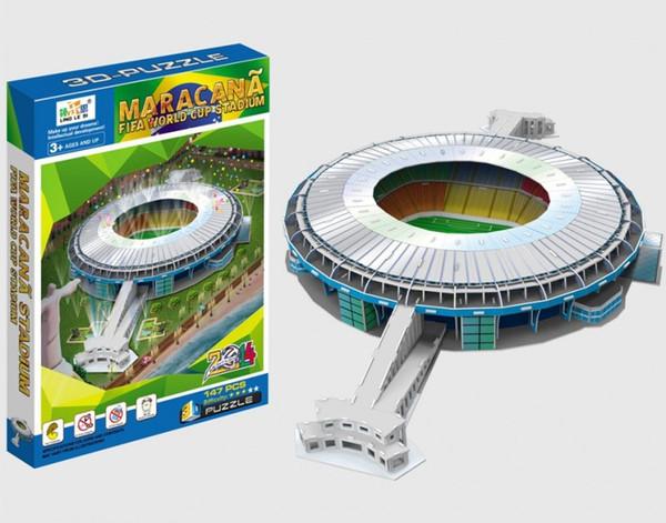 3D детские головоломки Бразилия Чемпионат мира по футболу поле две тысячи четырнадцать серии новый шаблон игрушки твердая бумага модель 18yl G1