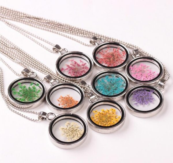 Brand new Fashionable dry flower necklace DIY personalized natural flower pendant WFN314 (with chain) mix order 20 pieces a lot