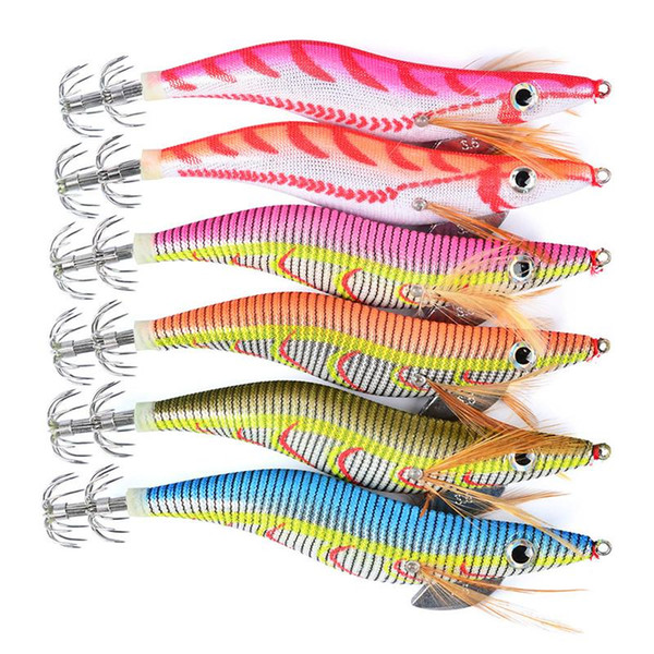 HOT Selling Artificial wood bait shrimp squid lure 13cm 21g 3.5# Tail Noctilucent Prawn Lures fishing hooks