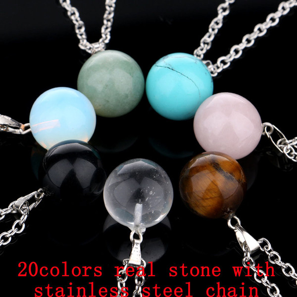 Ball Natural Stone Chain Necklaces